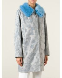 Shrimps | Blue Stripe Detail Faux Fur Coat | Lyst