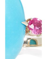 Ara Vartanian - Blue Turquoise And Ruby Double Finger Ring - Lyst