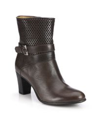 Alberto Fermani - Brown Tilda Perforated Leather Booties - Lyst
