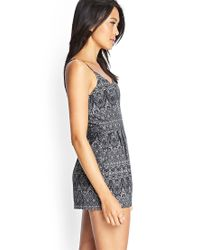 Forever 21 - Gray Abstract Print Romper You've Been Added To The Waitlist - Lyst