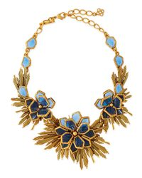 Oscar de la Renta | Blue Wild Flower Necklace | Lyst