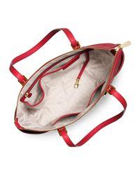 MICHAEL Michael Kors - Red Jet Set Top-zip Saffiano Tote Bag - Lyst