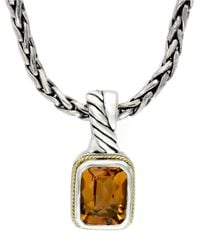 Effy | Metallic Balissima Sterling Silver Necklace With 18k. Gold And Citrine Pendant | Lyst