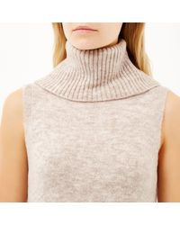 River Island | Natural Oatmeal Roll Neck Knitted Tunic | Lyst