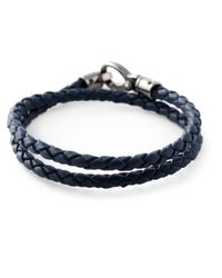 Tod's - Blue Double Wrap Woven Bracelet for Men - Lyst