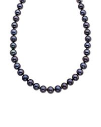 Lord & Taylor | 14 Kt. Yellow Gold Black Freshwater Pearl Strand Necklace | Lyst