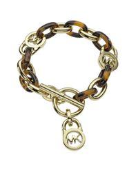 Michael Kors | Yellow Faux Tortoise Shell Link Bracelet | Lyst