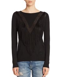 Ella Moss - Black Ravi Fringed V-neck Sweater - Lyst