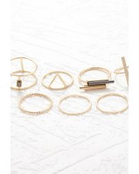 Forever 21 - Metallic Linear Geo Ring Set - Lyst