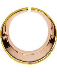 Cedric Charlier - Yellow Scale Embossed Rose Gold Plated Choker - Lyst