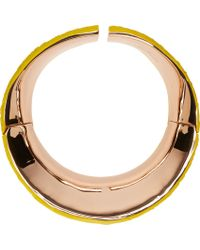 Cedric Charlier | Yellow Scale Embossed Rose Gold Plated Choker | Lyst