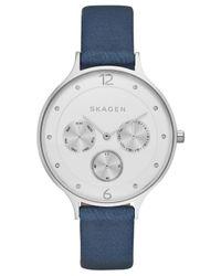 Skagen - Women's Anita Blue Leather Strap Watch 36mm Skw2309 - Lyst