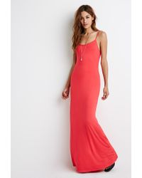 Forever 21 - Red Cutout-back Cami Maxi Dress - Lyst