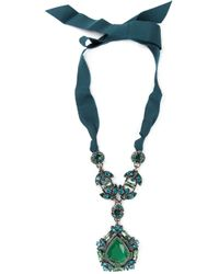 Lanvin | Green Crystal Ribbon Necklace | Lyst