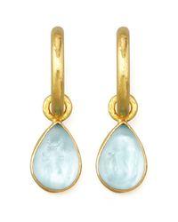 Elizabeth Locke - Blue Light Aqua Intaglio Teardrop Earring Pendants - Lyst