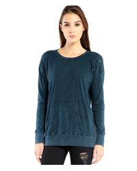 Michael Stars | Blue Distressed Tunic Sweatshirt With Kanga Front Pocket | Lyst