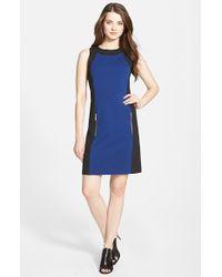 MICHAEL Michael Kors - Blue Colorblock Sleeveless Ponte Sheath Dress - Lyst