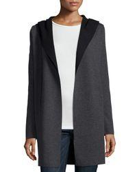 Neiman Marcus - Gray Hooded Wool Cardigan - Lyst
