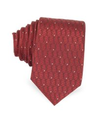 Saint Laurent - Red Signature And Polkadots Narrow Tie for Men - Lyst