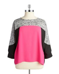 Calvin Klein | Pink Plus Colorblocked Dolman Top | Lyst