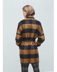 Mango - Blue Check Pattern Textured Coat - Lyst