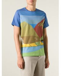 J.W.Anderson - Blue White Horse Landscape Print T-Shirt for Men - Lyst