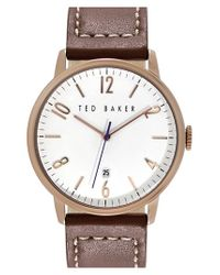Ted Baker | Pink Leather Strap Watch for Men | Lyst