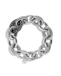 David Yurman - Metallic Oval Extra Large Link Bracelet with Diamonds - Lyst