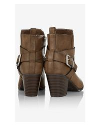 Express | Brown Zip-Up Buckle Ankle Boot | Lyst