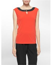 Calvin Klein - Red White Label Faux Leather Trim Hardware Sleeveless Top - Lyst