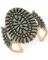 Lucky Brand - Metallic Gold-tone And Stone Cuff Bracelet - Lyst