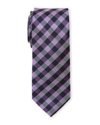 Pierre Cardin | Purple Checked Slim Silk Tie for Men | Lyst