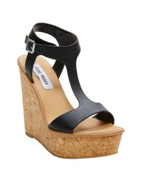 Steve Madden | Black Iluvit Wedge Sandals | Lyst