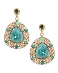 Bavna | 18k Yellow Gold Shield Earrings With Diamonds And Green Tourmaline | Lyst