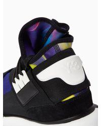 Y-3 | Black Qasa Printed Neoprene High-Top Sneakers for Men | Lyst