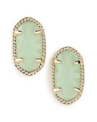 Kendra Scott - Metallic 'ellie' Oval Stone Stud Earrings - Chalcedony/ Gold - Lyst