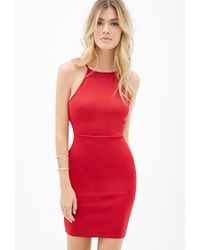 Forever 21 - Red Shallow Neckline Bodycon Dress - Lyst