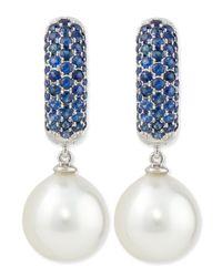 Belpearl - Blue Aura Tanzanite & White Pearl Earrings - Lyst