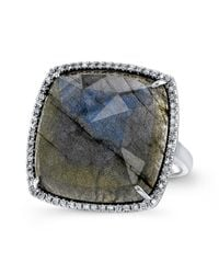 Anne Sisteron - 14kt White Gold Labradorite Diamond Cushion Cut Cocktail Ring - Lyst