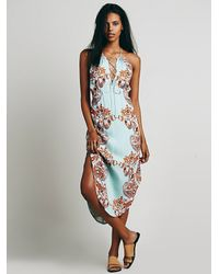 Free People - Blue Xanadu Halter Midi Dress - Lyst
