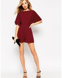 ASOS - Purple Petite Kimono Playsuit With D Ring & Open Back - Lyst