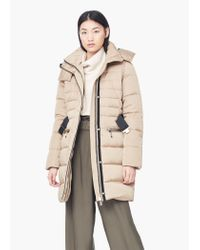 Mango - Natural Detachable Hood Quilted Coat - Lyst