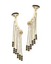Noir Jewelry - Metallic Tassel Earrings - Black/gold - Lyst