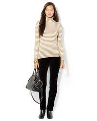 Lauren by Ralph Lauren   Natural Petite Metallic Striped Turtleneck Sweater   Lyst