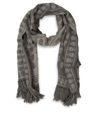 cae94159e257 Alexander McQueen Grey Upside Down Skull Print Wool Scarf in Gray ...