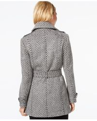 Kenneth Cole | Gray Asymmetrical-zip Belted Trench Coat | Lyst