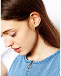 Dogeared | Metallic Exclusive For Asos Tiny Sparkle Karma Sterling Silver Circle Stud Earrings | Lyst