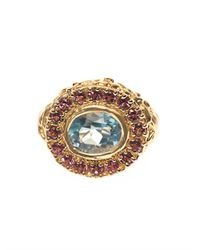 Jade Jagger | Blue Aquamarine Ruby Yellowgold Ring | Lyst