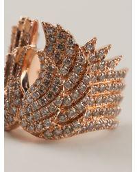 Elise Dray - Metallic Rose Gold And Diamond Pavé Phalanx Wings Ring - Lyst