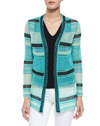 M Missoni | Blue Fancy Ribbon-stitch Cardigan | Lyst